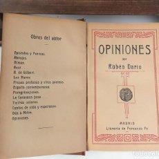 Libros antiguos: OPINIONES POR RUBÉN DARÍO. LIBRERÍA DE FERNANDO FÉ. S/F.. Lote 80097389