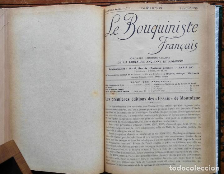 Libros antiguos: LE BOUQUINISTE FRANCAIS – (de l'any 1921 al any 1927) – 168 fascicles - 1 Volum - Foto 6 - 80100281