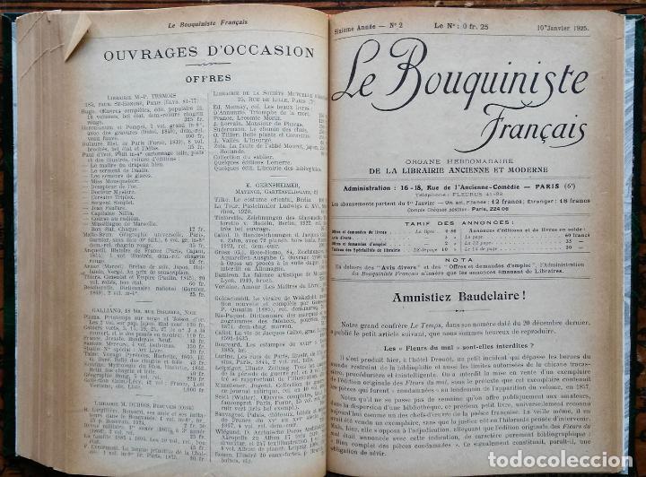 Libros antiguos: LE BOUQUINISTE FRANCAIS – (de l'any 1921 al any 1927) – 168 fascicles - 1 Volum - Foto 7 - 80100281