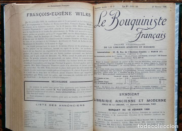 Libros antiguos: LE BOUQUINISTE FRANCAIS – (de l'any 1921 al any 1927) – 168 fascicles - 1 Volum - Foto 8 - 80100281