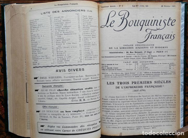 Libros antiguos: LE BOUQUINISTE FRANCAIS – (de l'any 1921 al any 1927) – 168 fascicles - 1 Volum - Foto 9 - 80100281