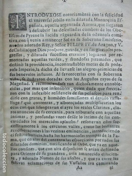 Libros antiguos: FESTIVAS DEMONSTRACIONES, Y MAGESTUOSOS OBSEQUIOS,.. 1702. - Foto 3 - 80224645