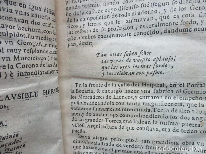 Libros antiguos: FESTIVAS DEMONSTRACIONES, Y MAGESTUOSOS OBSEQUIOS,.. 1702. - Foto 4 - 80224645