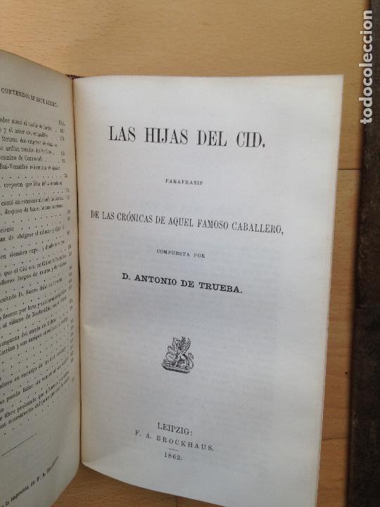 Libros antiguos: EL Cid Campeador y Las hijas del Cid Antonio de TRUEBA Edit: F.A. Brockhaus, Leipzig, 1868 y 1862 - Foto 4 - 80330321