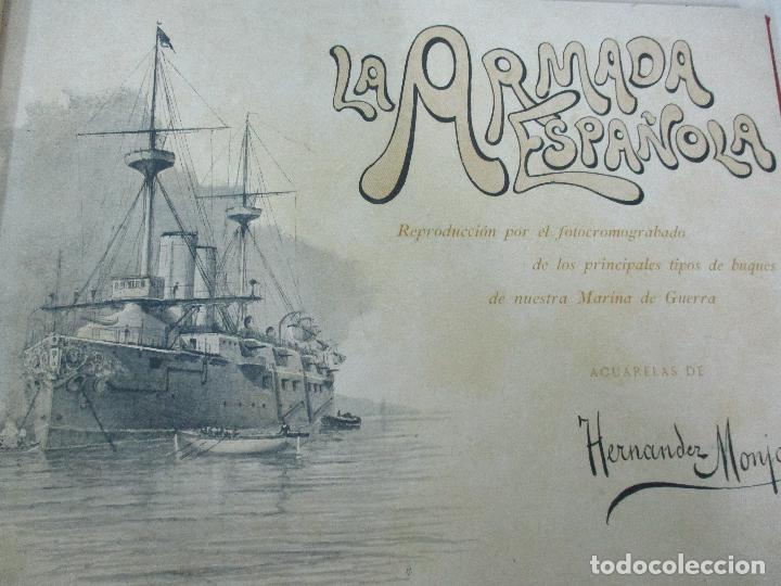 Libros antiguos: La Armada Española - Fotocromograbadas - Acuarelas de Hernandez Monjo - Editado en el Año 1898 - Foto 7 - 80544490