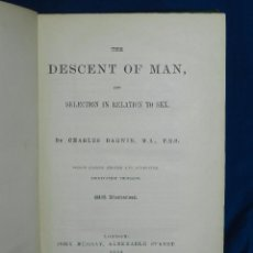 Libros antiguos: (MF) CHARLES DARWIN - THE DESCENT OF MAN AND SELCTION IN RELATION TO SEX, LONDON 1894 , 2 EDC. Lote 80636270