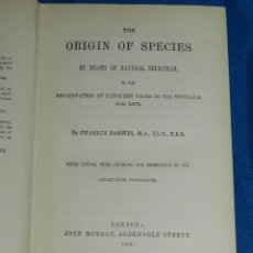 Libros antiguos: (MF) CHARLES DARWIN - THE ORIGIN OF SPECIES BY MEANS OF NATURAL SELECTION , LONDON 1886. Lote 80637502