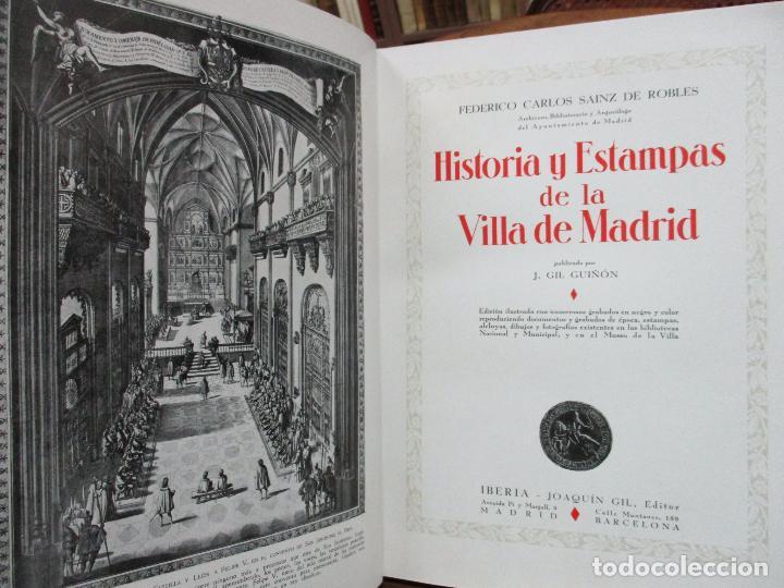 Libros antiguos: HISTORIA Y ESTAMPAS DE LA VILLA DE MADRID. SAINZ DE ROBLES, Federico Carlos. 2 VOL. 1933. - Foto 3 - 80849483