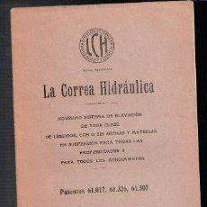 Libros antiguos: LA CORREA HIDRÁULICA, NOVÍSIMO SISTEMA DE ELEVACIÓN. Lote 80992268