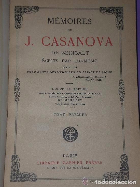 Libros antiguos: Mémoires de J.Casanova de Seingalt écrits par lui-même ... (8 tomos,1926-1927) - Foto 5 - 81096712