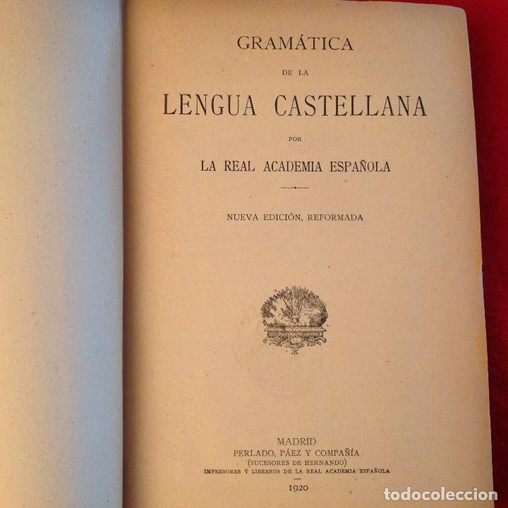 Libros antiguos: Gramática de la lengua castellana por la Real Academia Española 1920, con sello de la Real Academia - Foto 2 - 81326168