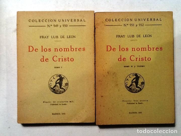DE LOS NOMBRES DE CRISTO FRAY LUIS DE LEON TOMO II COLECCION UNIVERSAL Nº 951 Y 952 (Libros antiguos (hasta 1936), raros y curiosos - Literatura - Narrativa - Otros)