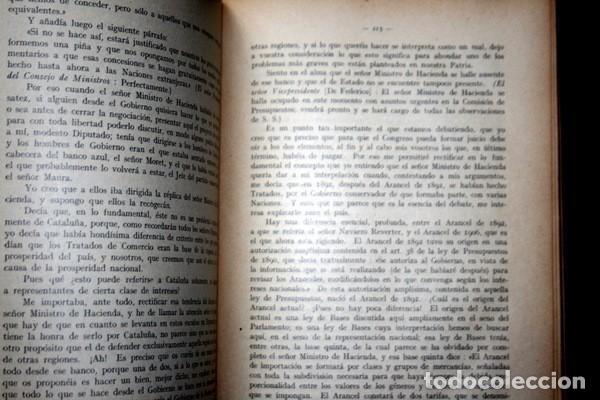 Libros antiguos: DISCURSOS PARLAMENTARIOS - INTERVENCIONES PARLAMENTARIAS - SALA ARGEMI ( CONDE DE EGARA) - Foto 3 - 81888804
