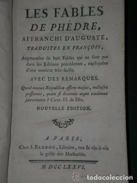 Libros antiguos: Les Fables de Phèdre, affranchi dAuguste.(1776) - Foto 3 - 82055952