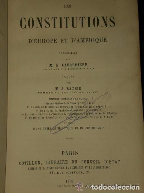 LES CONSTITUTIONS D'EUROPE ET D'AMERIQUE.(1869) (Libros Antiguos, Raros y Curiosos - Otros Idiomas)