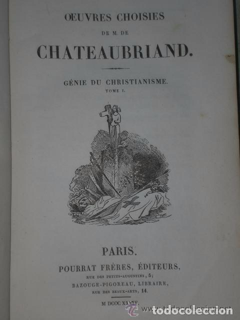 Libros antiguos: OEUVRES CHOISIES DE M. DE CHATEAUBRIAND. GÉNIE DU CHRISTIANISME. (3 TOMOS, 1834) - Foto 2 - 82101744