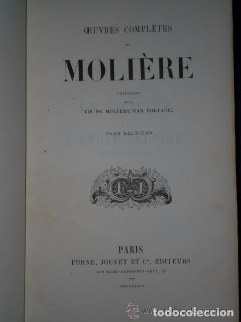 Libros antiguos: OEUVRES COMPLÈTES DE MOLIERE.(2 TOMOS,1869) - Foto 2 - 82108008
