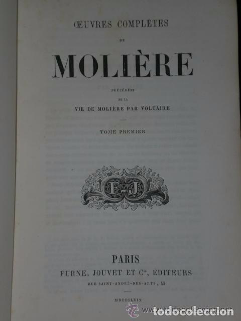 Libros antiguos: OEUVRES COMPLÈTES DE MOLIERE.(2 TOMOS,1869) - Foto 3 - 82108008