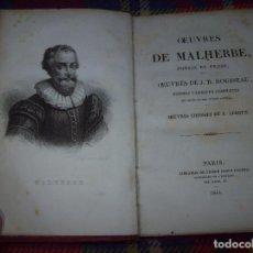 Libros antiguos: OBRAS DE MALHERBE,POÉSIE ET PROSE / OBRAS DE J.B. ROUSSEAU,POÉSIES LYRIQUES COMPLETES...1844.. Lote 82547272