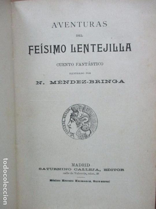 Libros antiguos: AVENTURAS DEL FEÍSIMO LENTEJILLA. CUENTO FANTÁSTICO. ILUSTR. N. MÉNDEZ-BRINGA. C. 1900. - Foto 2 - 82876116