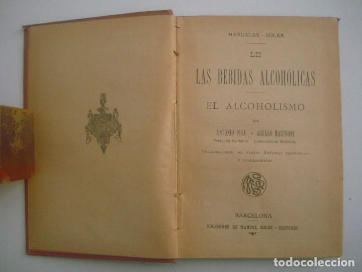 Libros antiguos: MARINONI. LAS BEBIDAS ALCOHOLICAS. EL ACOHOLISMO. 1900. MANUALES SOLER. ILUSTRADO. - Foto 2 - 83582620
