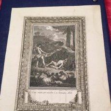 Alte Bücher - Grabado antiguo original papel recio Caín y Abel - 83761176