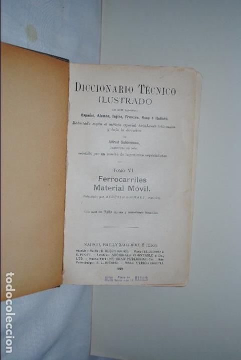 Libros antiguos: DICCIONARIO TECNICO ILUSTRADO - Foto 2 - 83993308
