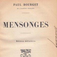 Libros antiguos: PAUL BOURGET. MENSONGES. PARÍS, 1887.. Lote 84335184
