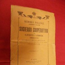 Libros antiguos: MEMORIA BALANCE CORRESPONDIENTE AL AÑO 1901 DE LA SOCIEDAD COOPERATIVA DEL EJERCITO Y ARMADA ESTABLE. Lote 84449460