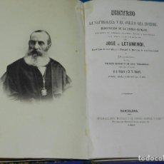 Libros antiguos: (MF) JOSE DE LETAMENDI - DISCURSO SOBRE LA NATURALEZA Y EL ORIGEN DEL HOMBRE 1867. Lote 84696904