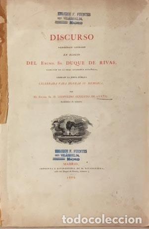 DISCURSO NECROLÓGICO LITERARIO EN ELOGIO DEL DUQUE DE RIVAS, DIRECTOR DE LA R ACADEMIA ESPAÑOLA 1866 (Libros antiguos (hasta 1936), raros y curiosos - Literatura - Narrativa - Otros)