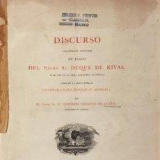 Libros antiguos: DISCURSO NECROLÓGICO LITERARIO EN ELOGIO DEL DUQUE DE RIVAS, DIRECTOR DE LA R ACADEMIA ESPAÑOLA 1866. Lote 86171412
