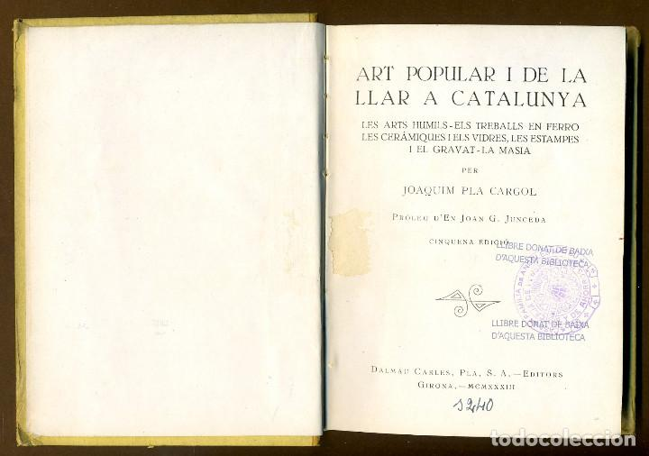 Libros antiguos: ART POPULAR I DE LA LLAR A CATALUNYA - Foto 2 - 86502404