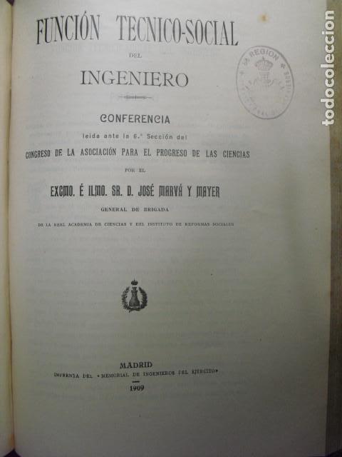 1909 FUNCIÓN TÉCNICO_SOCIAL DEL INGENIERO GENERAL MARVÁ (Libros Antiguos, Raros y Curiosos - Ciencias, Manuales y Oficios - Otros)