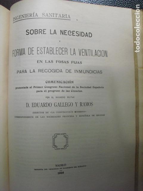 1909 VENTILACION EN LAS FOSAS FIJAS PARA LA RECOGIDA DE INMUNDICIAS EDUARDO GALLEGO (Libros Antiguos, Raros y Curiosos - Ciencias, Manuales y Oficios - Otros)