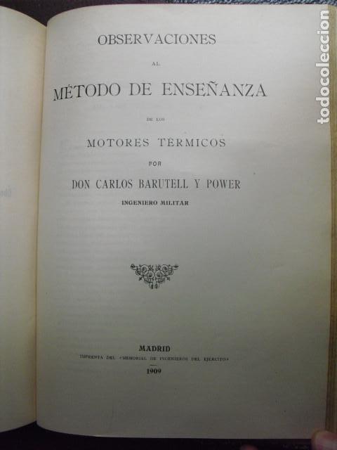1909 OBSERVACIONES AL MÉTODO DE ENSEÑANZA DE LOS MOTORES TÉRMICOS BARUTELL (Libros Antiguos, Raros y Curiosos - Ciencias, Manuales y Oficios - Otros)
