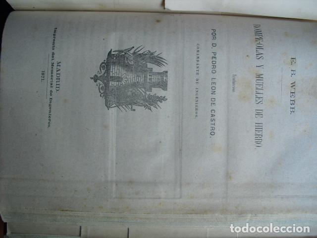 Libros antiguos: 1871 ROMPEOLAS Y MUELLES DE HIERRO E.B.WEBB - Foto 2 - 88350564