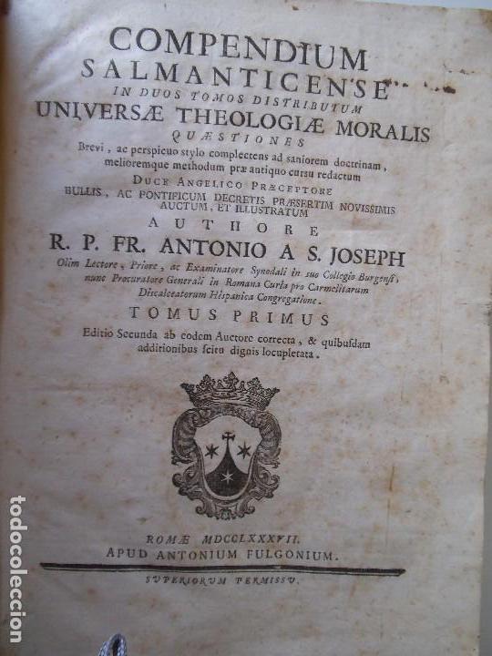 Libros antiguos: Compendium Salmanticense - 1787 - Pergamino - 2 Tomos (Completa) - Foto 2 - 89039232