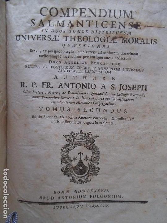Libros antiguos: Compendium Salmanticense - 1787 - Pergamino - 2 Tomos (Completa) - Foto 3 - 89039232