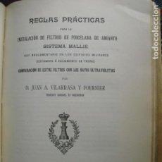 Libros antiguos: 1912 REGLAS PRACTICAS PARA LA INSTALACIÓN DE FILTROS DE PORCELANA SISTEMA MALLÉ J.A.VILARRASA. Lote 89199976