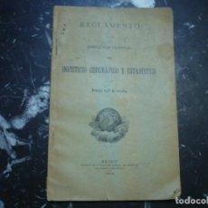 Libros antiguos: REGLAMENTO DIRECCION GENERAL INSTITUTO GEOGRA-ESTADISTICO 1912 MADRID. Lote 89694044