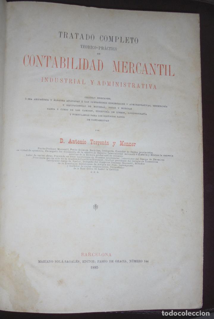 TRATADO COMPLETO DE CONTABILIDAD MERCANTIL INDUSTRIAL Y ADMINISTRATIVA. TOMO III. 1885. BARCELONA. (Libros Antiguos, Raros y Curiosos - Ciencias, Manuales y Oficios - Otros)