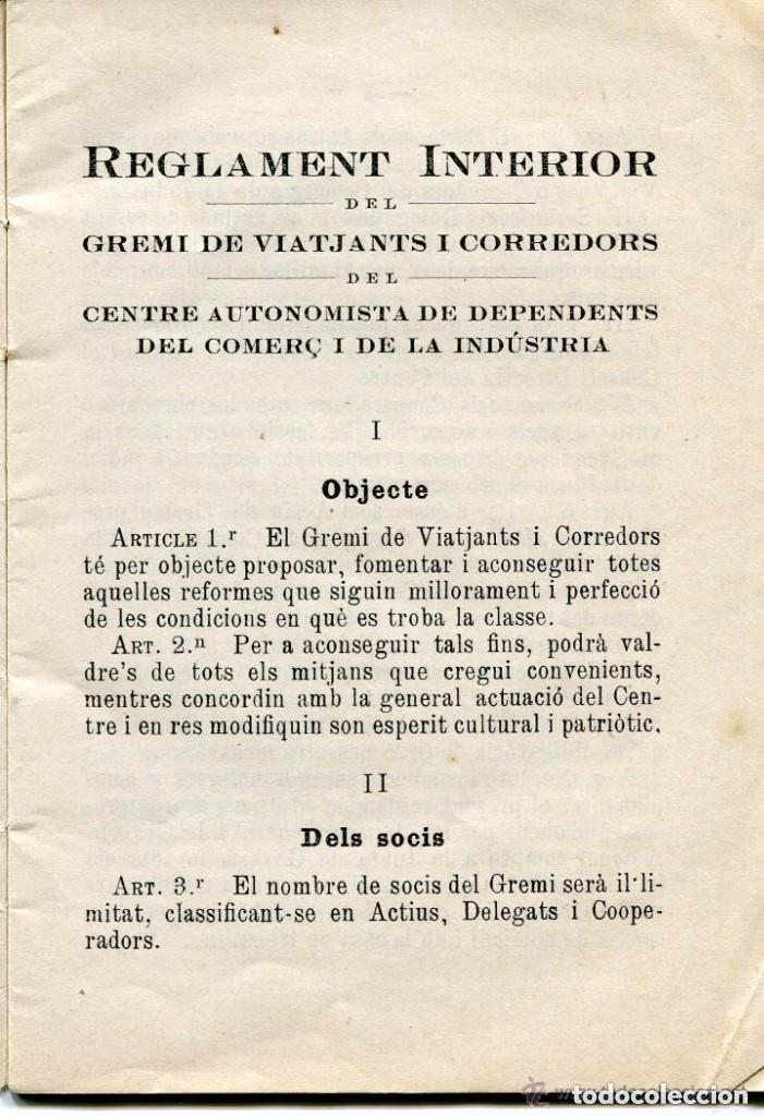 AA LIBRO-ORIGINAL REGLAMENT INTERIOR CENTRE AUTONOMISTA DE DEPENDENTS-1922-MUY RARO-ÚNICO- (Libros Antiguos, Raros y Curiosos - Bellas artes, ocio y coleccionismo - Otros)