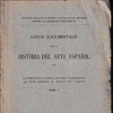 Libros antiguos: DATOS DOCUMENTALES PARA LA HISTORIA DEL ARTE ESPAÑOL II (M. ZARCO 1916) SIN USAR. Lote 89853272