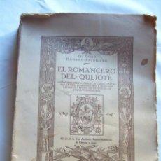 Libros antiguos: ROMANCERO DEL QUIJOTE POR FEDERICO LAFUENTE 1926. Lote 89979064