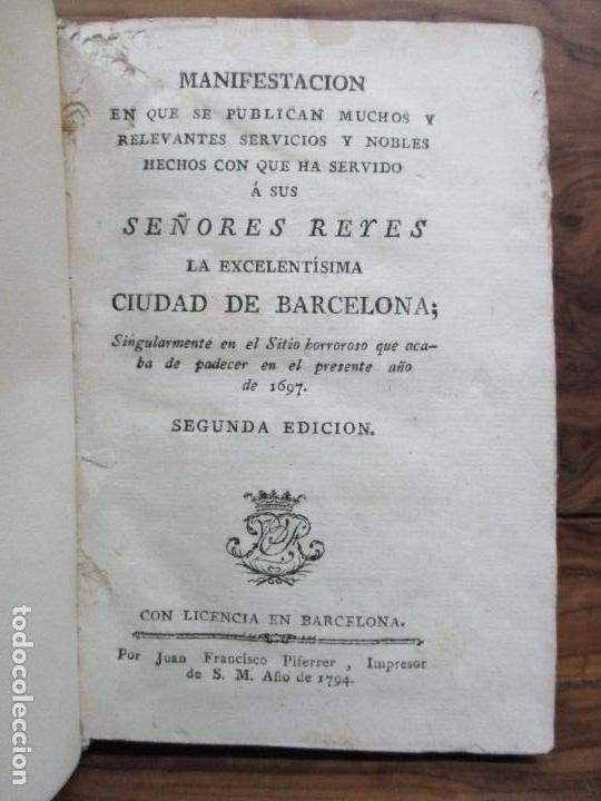 MANIFESTACION EN QUE SE PUBLICAN MUCHOS Y RELEVANTES SERVICIOS Y NOBLES HECHOS... 1794. (Libros Antiguos, Raros y Curiosos - Historia - Otros)