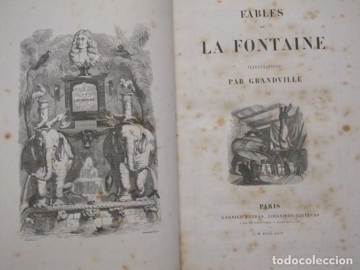 Libros antiguos: Fables de La Fontaine. Illustrations par Grandeville. Paris, Garnier Frères ed. 1864 - Foto 2 - 90374492