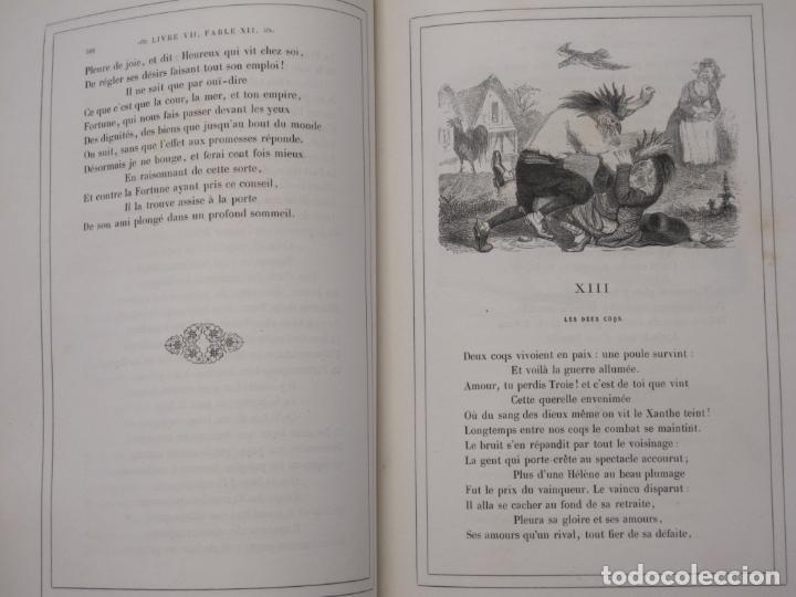 Libros antiguos: Fables de La Fontaine. Illustrations par Grandeville. Paris, Garnier Frères ed. 1864 - Foto 3 - 90374492