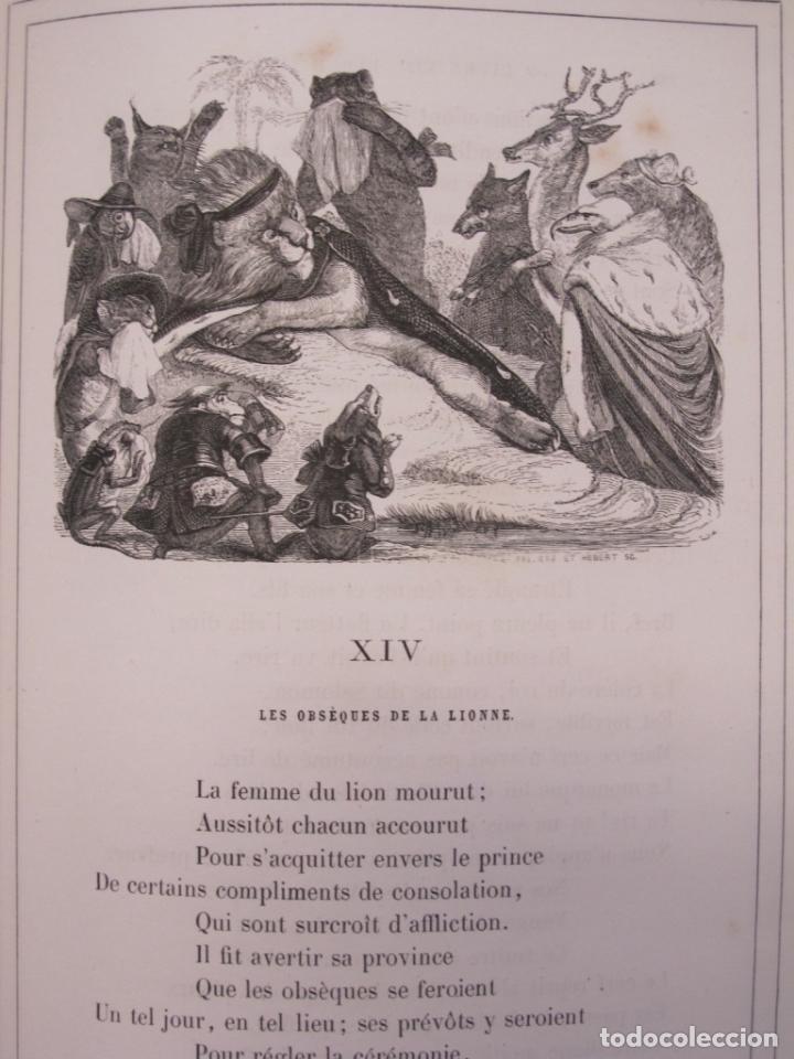 Libros antiguos: Fables de La Fontaine. Illustrations par Grandeville. Paris, Garnier Frères ed. 1864 - Foto 4 - 90374492