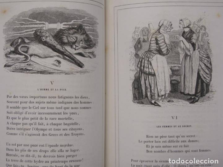 Libros antiguos: Fables de La Fontaine. Illustrations par Grandeville. Paris, Garnier Frères ed. 1864 - Foto 5 - 90374492